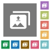 Upload multiple images square flat icons - Upload multiple images flat icons on simple color square backgrounds