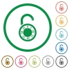 Unlocked round combination lock flat icons with outlines - Unlocked round combination lock flat color icons in round outlines on white background