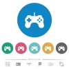 Game controller flat round icons - Game controller flat white icons on round color backgrounds. 6 bonus icons included.