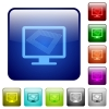 Screen saver on monitor color square buttons - Screen saver on monitor icons in rounded square color glossy button set
