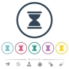 Hourglass flat color icons in round outlines - Hourglass flat color icons in round outlines. 6 bonus icons included.