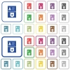 Police id and badge outlined flat color icons - Police id and badge color flat icons in rounded square frames. Thin and thick versions included.