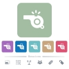 Whistle flat icons on color rounded square backgrounds - Whistle white flat icons on color rounded square backgrounds. 6 bonus icons included