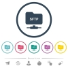 FTP over SSH flat color icons in round outlines - FTP over SSH flat color icons in round outlines. 6 bonus icons included.