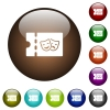 Theater discount coupon color glass buttons - Theater discount coupon white icons on round color glass buttons