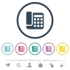Office phone flat color icons in round outlines - Office phone flat color icons in round outlines. 6 bonus icons included.