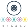 24 hours seven sticker with arrows flat color icons in round outlines - 24 hours seven sticker with arrows flat color icons in round outlines. 6 bonus icons included.