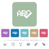 Spell check flat icons on color rounded square backgrounds - Spell check white flat icons on color rounded square backgrounds. 6 bonus icons included