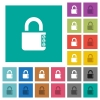 Locked combination lock with side numbers square flat multi colored icons - Locked combination lock with side numbers multi colored flat icons on plain square backgrounds. Included white and darker icon variations for hover or active effects.