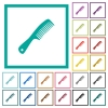 Comb with handle flat color icons with quadrant frames on white background - Comb with handle flat color icons with quadrant frames