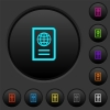 Passport dark push buttons with color icons - Passport dark push buttons with vivid color icons on dark grey background