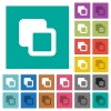 Subtract shapes square flat multi colored icons - Subtract shapes multi colored flat icons on plain square backgrounds. Included white and darker icon variations for hover or active effects.