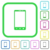Modern mobile phone with three button vivid colored flat icons - Modern mobile phone with three button vivid colored flat icons in curved borders on white background