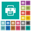Wireless printer square flat multi colored icons - Wireless printer multi colored flat icons on plain square backgrounds. Included white and darker icon variations for hover or active effects.