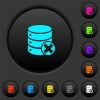 Database cancel dark push buttons with color icons - Database cancel dark push buttons with vivid color icons on dark grey background