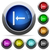 Align to left round glossy buttons - Align to left icons in round glossy buttons with steel frames