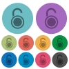 Unlocked round padlock color darker flat icons - Unlocked round padlock darker flat icons on color round background