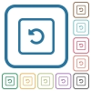 Rotate object left simple icons - Rotate object left simple icons in color rounded square frames on white background