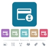Credit card operation in progress flat icons on color rounded square backgrounds - Credit card operation in progress white flat icons on color rounded square backgrounds. 6 bonus icons included