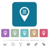 GPS map location options flat icons on color rounded square backgrounds - GPS map location options white flat icons on color rounded square backgrounds. 6 bonus icons included