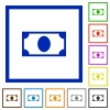 Single banknote flat framed icons - Single banknote flat color icons in square frames on white background