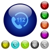 Emergency call 112 color glass buttons - Emergency call 112 icons on round color glass buttons