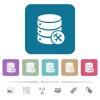 Database maintenance flat icons on color rounded square backgrounds - Database maintenance white flat icons on color rounded square backgrounds. 6 bonus icons included