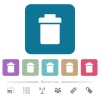 Single trash flat icons on color rounded square backgrounds - Single trash white flat icons on color rounded square backgrounds. 6 bonus icons included