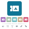 Camping discount coupon flat icons on color rounded square backgrounds - Camping discount coupon white flat icons on color rounded square backgrounds. 6 bonus icons included