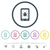 Malicious mobile software flat color icons in round outlines - Malicious mobile software flat color icons in round outlines. 6 bonus icons included.