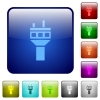 Air control tower color square buttons - Air control tower icons in rounded square color glossy button set