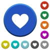 Heart card symbol beveled buttons - Heart card symbol round color beveled buttons with smooth surfaces and flat white icons