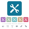 Maintenance flat icons on color rounded square backgrounds - Maintenance white flat icons on color rounded square backgrounds. 6 bonus icons included