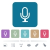 Single microphone flat icons on color rounded square backgrounds - Single microphone white flat icons on color rounded square backgrounds. 6 bonus icons included