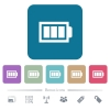 Full battery with three load units flat icons on color rounded square backgrounds - Full battery with three load units white flat icons on color rounded square backgrounds. 6 bonus icons included