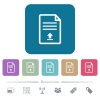 Upload document flat icons on color rounded square backgrounds - Upload document white flat icons on color rounded square backgrounds. 6 bonus icons included