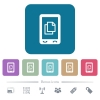 Mobile contact flat icons on color rounded square backgrounds - Mobile contact white flat icons on color rounded square backgrounds. 6 bonus icons included