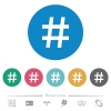 Hash tag flat round icons - Hash tag flat white icons on round color backgrounds. 6 bonus icons included.