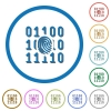 Digital fingerprint icons with shadows and outlines - Digital fingerprint flat color vector icons with shadows in round outlines on white background