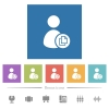 Copy user account flat white icons in square backgrounds - Copy user account flat white icons in square backgrounds. 6 bonus icons included.