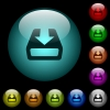 Install to hard drive icons in color illuminated glass buttons - Install to hard drive icons in color illuminated spherical glass buttons on black background. Can be used to black or dark templates