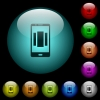Setting up mobile homescreen icons in color illuminated glass buttons - Setting up mobile homescreen icons in color illuminated spherical glass buttons on black background. Can be used to black or dark templates