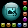 Image tagging icons in color illuminated glass buttons - Image tagging icons in color illuminated spherical glass buttons on black background. Can be used to black or dark templates