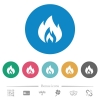 Flame flat round icons - Flame flat white icons on round color backgrounds. 6 bonus icons included.