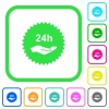 24h service sticker vivid colored flat icons - 24h service sticker vivid colored flat icons in curved borders on white background