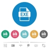 EXE file format flat round icons - EXE file format flat white icons on round color backgrounds. 6 bonus icons included.