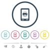 Mobile printing flat color icons in round outlines - Mobile printing flat color icons in round outlines. 6 bonus icons included.