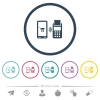 Mobile payment flat color icons in round outlines - Mobile payment flat color icons in round outlines. 6 bonus icons included.