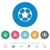 Soccer ball flat round icons - Soccer ball flat white icons on round color backgrounds. 6 bonus icons included.