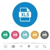 XLS file format flat round icons - XLS file format flat white icons on round color backgrounds. 6 bonus icons included.